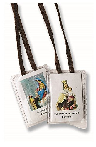 Our Lady of Mt. Carmel & St. Simon Stock Pray For Us Laminated Holy Scapular in Gift Bag (Brown Cord)