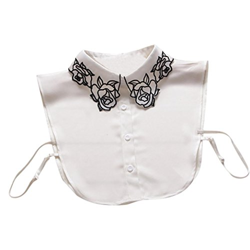 False Collar For Womens Adorable Vintage Flower Necklace Detachable Lapel Shirt Cute Fake False Collar (Lapel Bead)