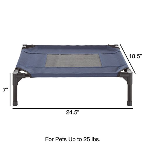 "PETMAKER Elevated Pet Bed-Portable Raised Cot-Style Bed W/Non-Slip Feet, 24.5""x 18.5""x 7"" for Dogs, Cats, and Small Pets-Indoor/Outdoor Use (Blue) by PETMAKER (Image #1)"