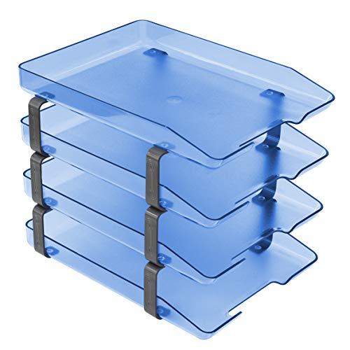 Acrimet Traditional Letter Tray 4 Tier Frontal, Plastic Desktop File Organizer (Clear Blue) ()