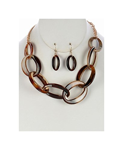 FB Jewels Solid Turtoise Lucite And Metal Necklace And Earring Set Chunky Link Bib With Chain (Lucite Necklace Chunky)
