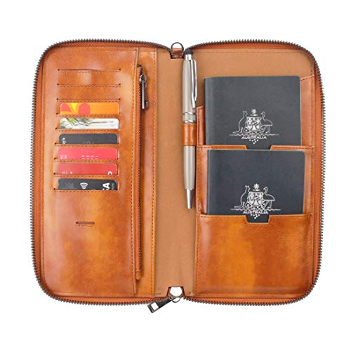 Gallaway Leather Travel Wallet Two Passports Holder Cover Documents Organizer ()