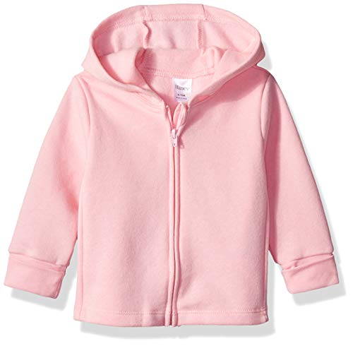 Hanes Ultimate Baby Zippin Fleece Hoodie, Precious Rose/Pink Freeze, 0-6 Months