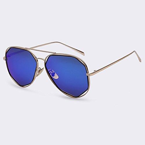 gafas aleación plata de en sol Moda Mujer metal Bastidor dorado geometría TIANLIANG04 de Ponte C05 estilo gafas polarizadas C02 de Blue piernas de Doppio sol singular de qwpxgCv1C