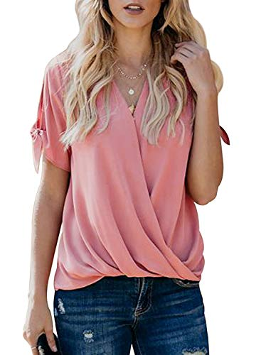 Ecrocoo Womens Cold Shoulder Short Sleeve Tops T Shirts V Neck Tunics Casual Loose Blouses Pink-10 ()