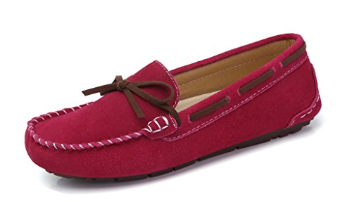SUNROLAN Womens Winter Flats Suede House Slippers Fur-Lined Moccasins Driving Shoes Slip On Loafers Deep Pink(without Fur) 5Mrj6QY