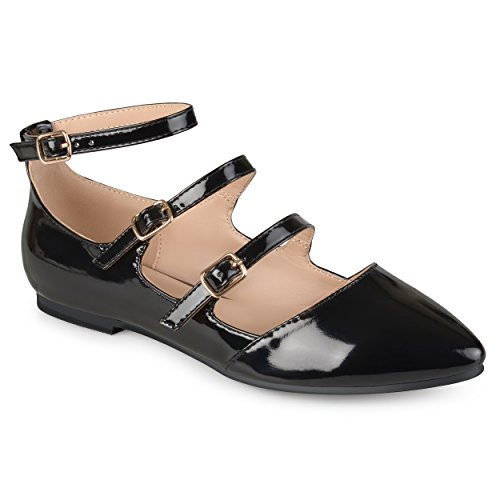 Journee Collection Womens Faux Patent Strappy Buckle Flats Black, 9 Regular US