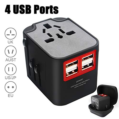 Universal Travel Adapter, CDX All In One Travel Power Adapter with 4 Smart Power USB Charging Port, Wall Charger AC Power Plug Adapter For USA EU UK AUS, Over 150 Countries (Black)