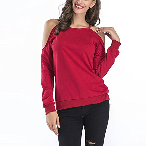 Rond Sexy Tunique Automne Ouverte Fit T Shirt lgant de Rouge S Col Femme Blouses 2XL Col Tops Slim Sport Rond paule Solike Longues Manches Loose Printemps WFfqppBc