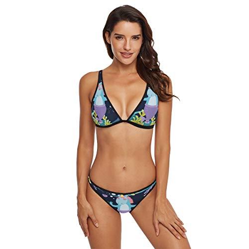 - Cindly Magic Cat Unicorn Mermaid Seaweed Women Tie Side Bottom Padded Top Triangle Bikini Two Piece Swimsuit