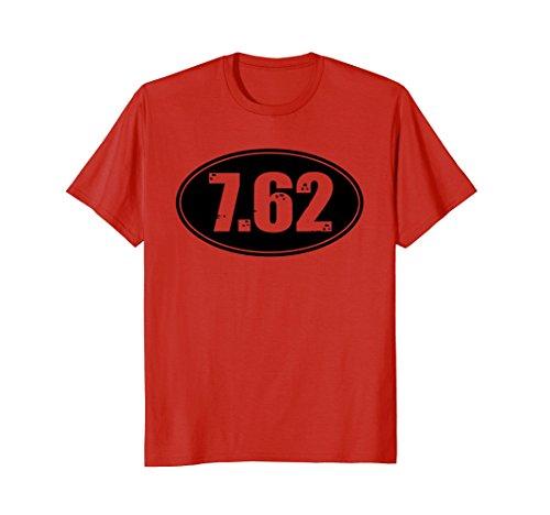 Dbl Rifle (Mens 7.62 SKS AK47 Rifle Ammo Gun Bullet Size Dbl Sided Shirt 2XL Red)