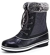 Huiyuzhi Womens Waterproof Winter Snow Boots Faux Fur Lined Lace Up Mid Calf Keep Warm Ankle Boots