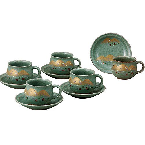 JAPANESE Kutani Pottery Yoshino mountain coffee set K4-1049 Made in Japan ... by Kutani