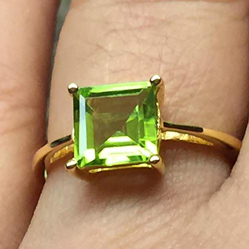 Natural 1.5ct Apple Green Peridot 14K Yellow Gold Vermeil 925 Sterling Silver Ring 7 ()