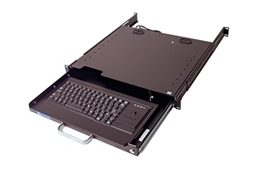 DR4-TB-BK2 1U Rackmount Lockable Industrial Keyboard with Integrated Trackball Mouse (USB) and adjustable depth rear mount bracket supporting 4 Post and 2 Post Relay Rack