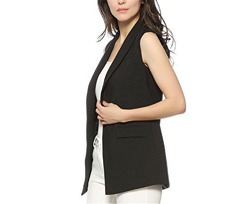 Caseminsto Women Fashion Elegant Office Lady Pocket Coat Sleeveless Vests Jacket Outwear Casual Brand Black M by Caseminsto (Image #2)