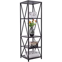 lunanice 4 Tiers Bookcase Metal and Wood Storage Shelf Display Organizer Home Furniture