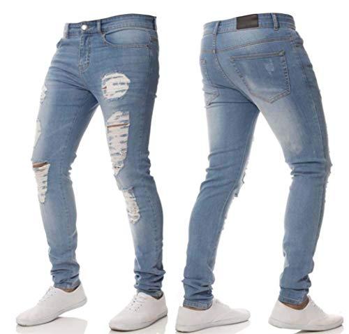 Pantaloni Skinny Denim Di Strappati Super Fashion Jeans Stretch Design Slim Jeggings Da Hellblau Uomo Fit Fxqwr1fnF