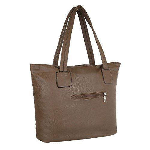 Ital-Design - Bolso de asas de Material Sintético para mujer marrón