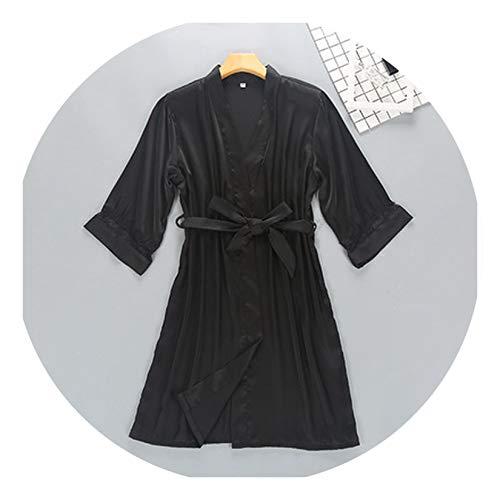 Women Silk Satin Short Night Robe Solid Kimono Sexy Lace Trim Bathrobe Peignoir Bride Bridesmaid Dressing Gown Black