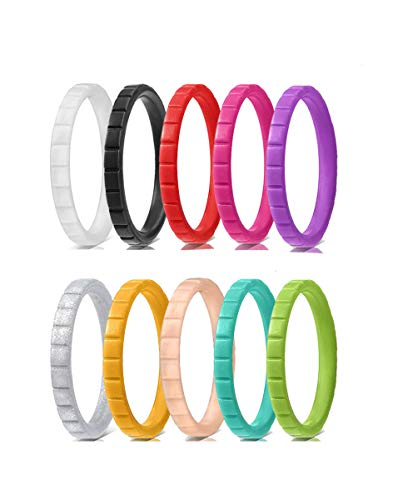 Kebaner 10 Pack 3mm Sports Fan Gift Comfortable Silicone Stackable Wedding Bands Geometric Rubber Ring 8