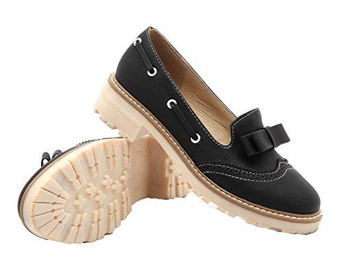 AmoonyFashion Womens Pull-On PU Round-Toe Low-Heels Solid Pumps-Shoes Black uodjHvIU