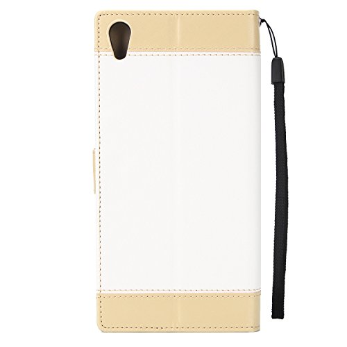Olyee Sony XA1 UITRA Hülle, Leder PU Cover Magnet Flip Hülle Schutzhülle Kartensteckplätzen und Ständer Handytasche für handyhülle Sony XA1 UITRA Red