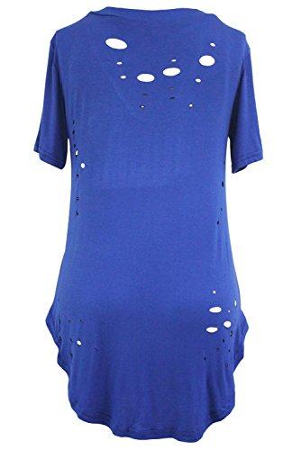 Cfanny Femmes Entrecroisée Front Délavé T-shirt Coton Haut Chemisier - Bleu Roi, X-Large(UK 20-22)