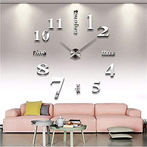 Easyflower Add Much Fun DIY 3D Wall Stickers,Hanging Clock Wall Stickers Art Wall Clock Mirror Wall Clock Self Adhesive Sticker (Color : Silver) by Easyflower