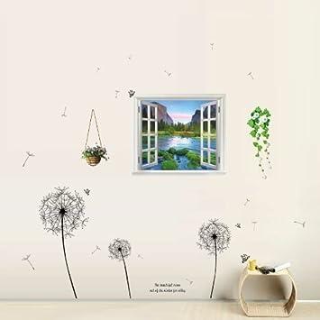 Walpus Wand Aufkleber Sticker 3D Fenster Aussicht Pusteblume Schmetterling  Pottwal Mauer Abzieh Sticker Kinderzimmer Dekoration