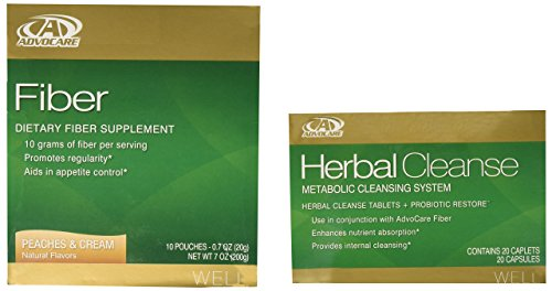 AdvoCare Herbal Cleanse & Fiber PEACHES & CREAM (kit) | Herbal Cleanse 20 Capsules & Fiber 10 Pouches