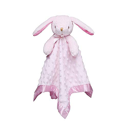 Pro Goleem Bunny Baby Lovey Stuffed Animal Plush Lovie/Security Blanket for Girls Minky Dot Blankie Gift for Newborn/Infant/Toddler (Pink, 15