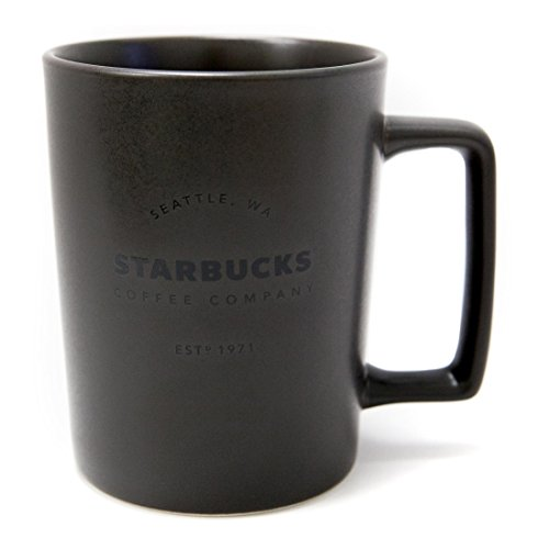 New Starbucks Seattle Matte Charcoal Black Handle Coffee Mug, 16 fl oz.