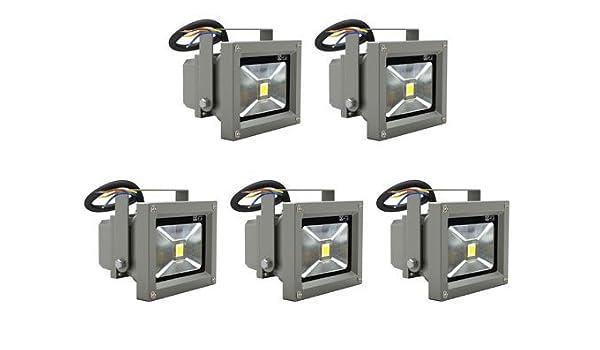 amzdeal® 5 x Foco Proyector 10W, Blanco Cálido, IP67 AC85-240V, Foco exterior, bombillas led, bombillas de bajo consumo, iluminacion exterior, ...