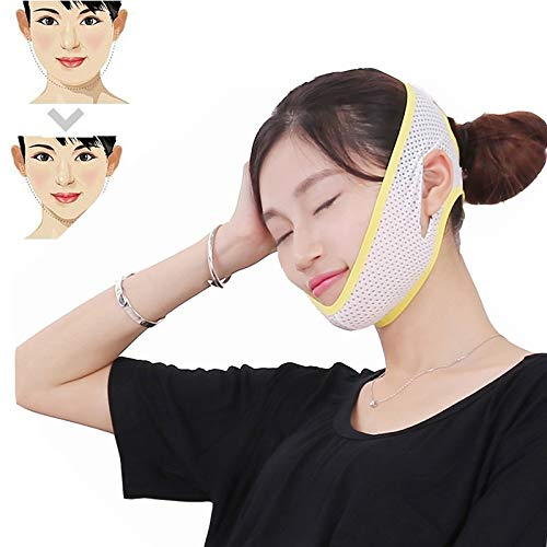 Gold Happy Double Chin Cheek Slim Lift Up Anti Wrinkle Sagging Mask Strap Band V Face Line Belt Women Slimming Bandage Facial Beauty Tool (Lycra Tropic Top)