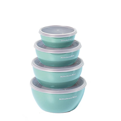 KitchenAid Prep Bowls with Lids, Set of 4, Aqua Sky (Aid Kitchen Utensils)