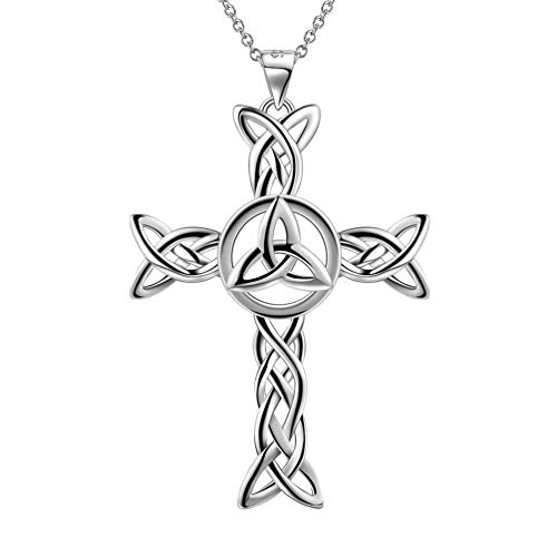 (Besilver 925 Sterling Silver Celtic Knot Cross Necklace Women Men Irish Celtic Cross Religious Jewelry Gift for Grandma Mom Dad FP0028W)