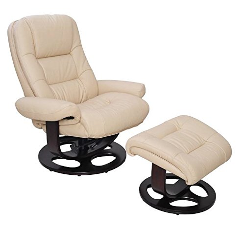 Leather Pedestal - Barcalounger Jacque II Leather Recliner & Ottoman - ivory