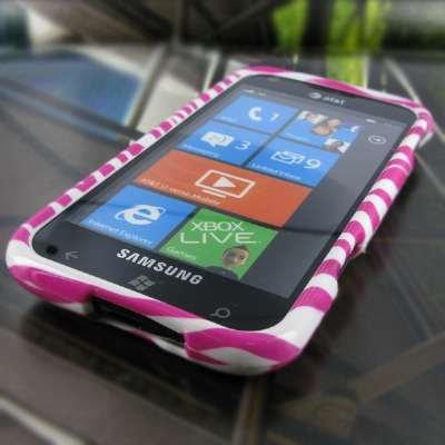 EMPIRE Samsung Focus S I937 Design Case Tasche Hülle Cover (Pink Rosa and Weiß Zebra Stripes) + Auto Windschutzscheibe Bergs + Displayschutzfolie Film