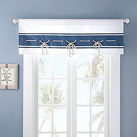 blue window valance striped nautical looking sailor window valance with sailing rope trim mini gromme in blue amazoncom