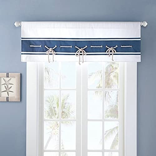 Nautical Looking Sailor Window Valance With Sailing Rope Trim, Mini Gromme,  In Blue/white Great Pictures