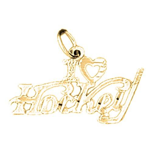 Jewels Obsession I Love Hockey Charm Pendant   14K Yellow Gold I Love Hockey Pendant - 16 mm