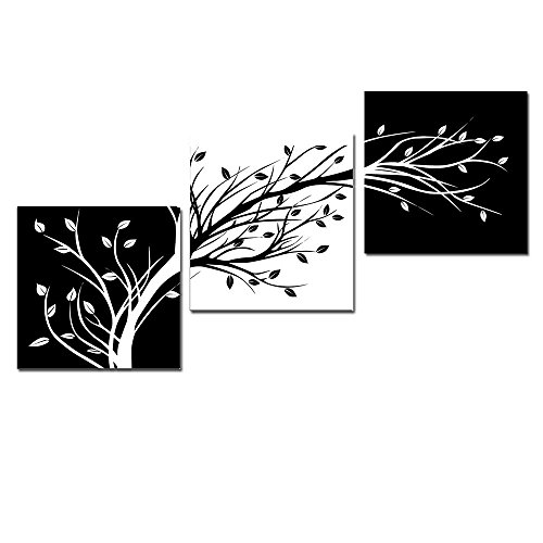 Black And White Paintings For Bedroom Bedroom Sets Black Modern Bedroom Black Bedroom Furniture Sets Pictures: Leaves Modern 3 Panels Flowers Artwork Giclee