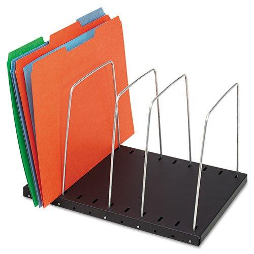 Wire Desktop Organizer, Four Sections, 9 3/4 x 8 1/2 x 7 3/4, Black/Silver