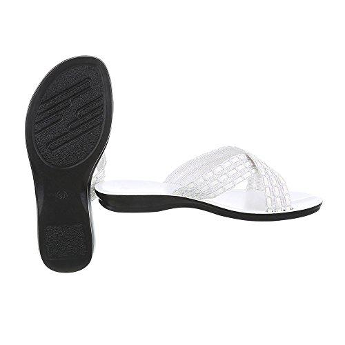 Ital-Design Pantoletten Damenschuhe Pantoletten Pantoletten Sandalen & Sandaletten Weiß