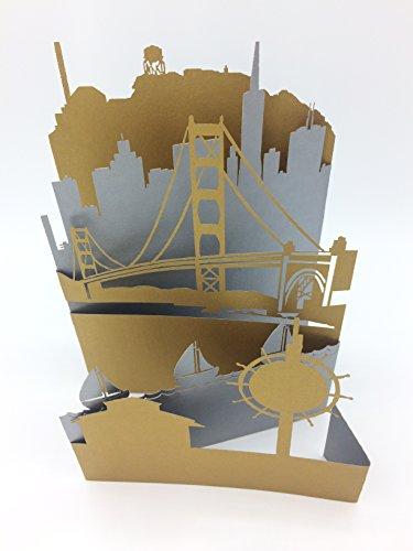 San Francisco Greeting Card, Unique Laser Cut Popup Card, 5 Layered Silhouette 3D Cityscape feat. Golden Gate Bridge (Card Feat)