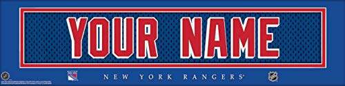 New York Rangers NHL Jersey Nameplate Wall Print, Personalized Gift, Boy's Room Decor 6x22 Unframed Poster