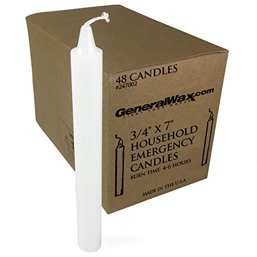 Long White Household Candles Unscented (Box of 48). Perfect for Church Ceremonies and emergency use. Made in - Church Candle