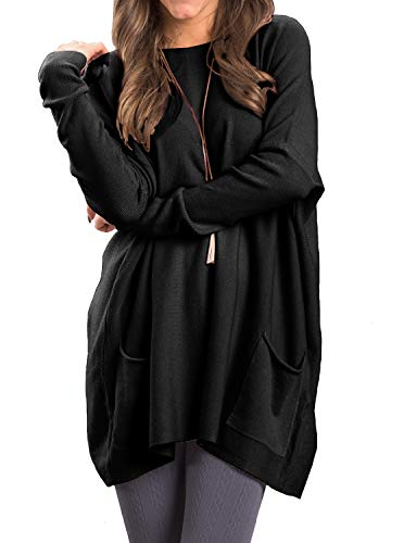 Adreamly Womens Fall Loose Tunic Sweatshirt Pullover Tops with Pockets