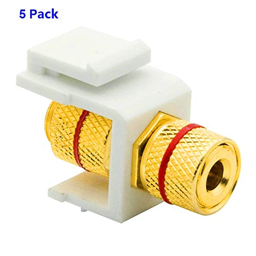 Dolphin-Element Banana Keystone Jack,Speaker Binding Post Keystone Insert, Red Color Coded Ring, Female Connector for Wall for Wall Plate Outlet Panel (5 Pack)